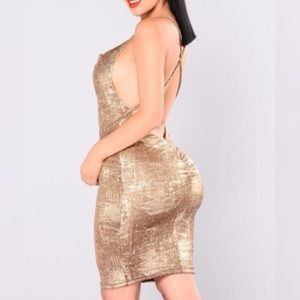 Fashion NOVA - Kelis Metallic dress - Gold